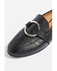 TOPSHOP - Black Kreme Ring Loafers - Lyst