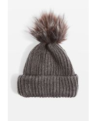TOPSHOP - Gray Tip Faux Fur Pom Beanie Hat - Lyst