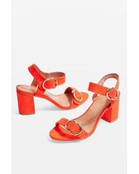 TOPSHOP - Red wide Fit Samba Two Part Sandals - Lyst