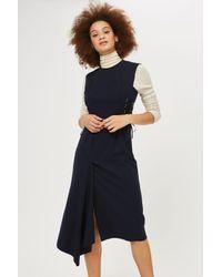 b0a105a57e Lyst - TOPSHOP Corset Side Midi Dress in Blue