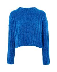 TOPSHOP - Blue Chenille Cropped Jumper - Lyst