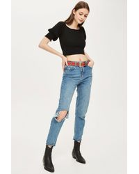 5866bd2aed135 Lyst - TOPSHOP Puff Sleeve Bardot Top in Black