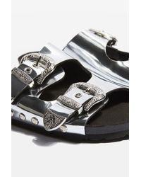 TOPSHOP - Metallic Falcon Buckle Sandals - Lyst