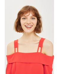 TOPSHOP - Red Tie Back Bardot Blouse - Lyst