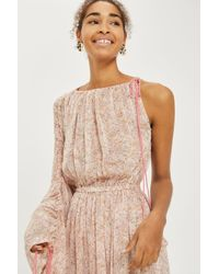 TOPSHOP - Natural One Shoulder Ruched Midi Dress - Lyst