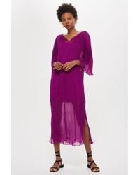 TOPSHOP - Purple Pleated Batwing Dress By Boutique - Lyst