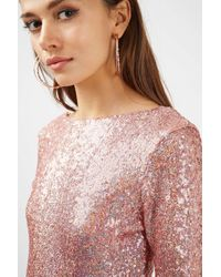 TOPSHOP - Multicolor Slash Neck Sequin Mini Dress - Lyst