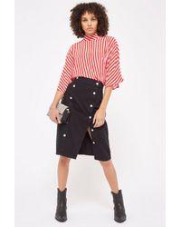 TOPSHOP Black Moto Button Split Midi Skirt