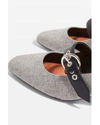 TOPSHOP - Gray Jude Mid Heel Court Shoes - Lyst