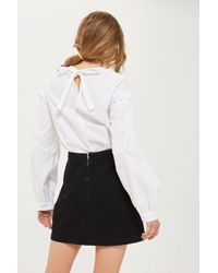 TOPSHOP - Black Moto Denim Embroidered A-line Skirt - Lyst