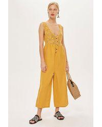 TOPSHOP - Yellow Crochet Button Jumpsuit - Lyst