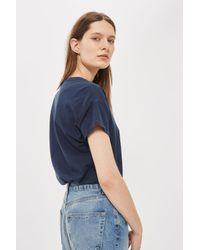 TOPSHOP - Blue Washed Scoop Neck T-shirt - Lyst