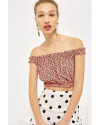 7640acd8674 Topshop Strappy Floral Print Bardot Top in Pink - Lyst
