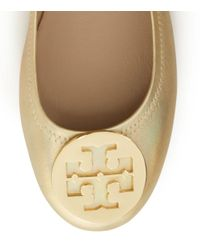Tory Burch - Logo Minnie Travel Ballet Flat, Metallic Leather - Lyst