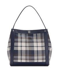 Tory Burch - Blue Woven Leather Tote - Lyst