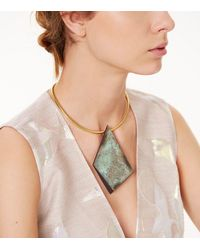 Tory Burch - Blue Oxidized-metal Collar Necklace - Lyst