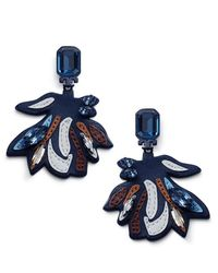 Tory Burch - Blue Abstract Floral Statement Earring - Lyst