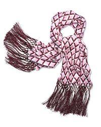 Tory Burch | Pink Signature Print Silk Oblong Scarf | Lyst