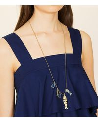 Tory Burch - Metallic Fish Charm Necklace - Lyst