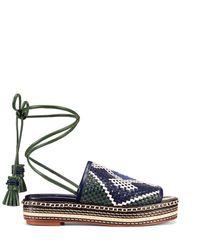 Tory Burch - Blue Delano Woven Sandal - Lyst