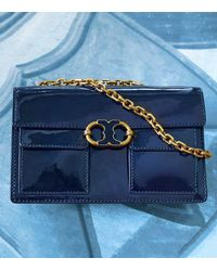 Tory Burch - Blue Gemini Link Patent Chain Shoulder Bag - Lyst