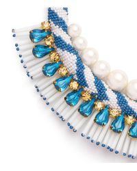 Tory Burch - Blue Beaded Pearl Statement Necklace - Lyst