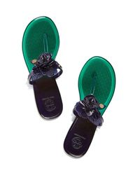 Tory Burch - Blue Blossom Two-tone Jelly Thong Sandal - Lyst