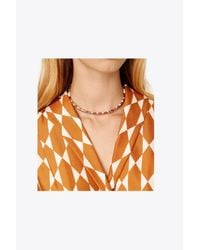 Tory Burch - Metallic Geo Striped Collar - Lyst