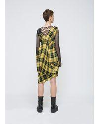 Junya Watanabe - Multicolor Yellow / Black Sleeveless Tartain Check Pleated Dress - Lyst