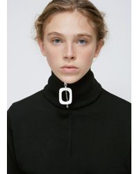 J.W. Anderson - Black Zippered Virgin Wool Neckband With Off-white Resin O-ring Zipper Pull. dry Clean. 100% Virgin Wool. Made In Italy. - Lyst
