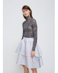 Pleats Please Issey Miyake - Gray Light Grey Double Layer Skirt - Lyst