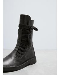 Ann Demeulemeester - Vitello Lux Black Wide Lace Up Boot - Lyst