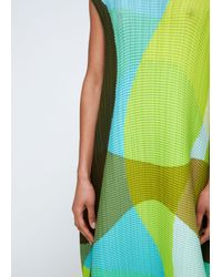 Issey Miyake - Green Colorblock Print Dress - Lyst