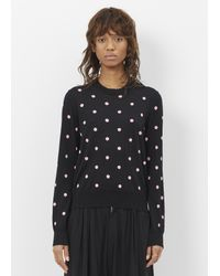 Comme des Garçons   Black Pink Polka Dot Crew Neck Sweater   Lyst