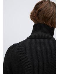 Lanvin | Black Anthracite Placed Darts English Rib Trucker Knit for Men | Lyst