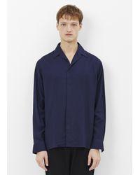 Lanvin   Dark Blue Open Collar Hidden Buttons Shirt for Men   Lyst