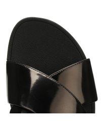 Fitflop - Womens Black Mirror Lulutm Cross Slide Sandals - Lyst