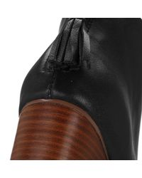 TOMS - Black Leila Leather Back Zip Block Heel Booties - Lyst