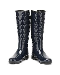 Hunter - Blue Original Womens Refined Tall Quilted Gloss Navy Wellington Boots - Lyst