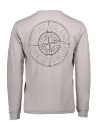 Stone Island - Gray Logo Tee for Men - Lyst