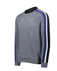 Lacoste - Blue Crew Neck Ribbed Wool Colorblock Stripe Sweater for Men - Lyst