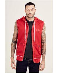 True Religion | Red Big T Sleeveless Zip Front Mens Hoodie for Men | Lyst