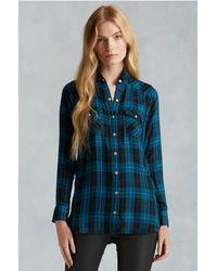 True Religion   Blue Georgia Plaid Zip Womens Shirt   Lyst