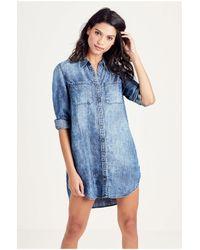 True Religion | Blue Relaxed Womens Utility Dress | Lyst