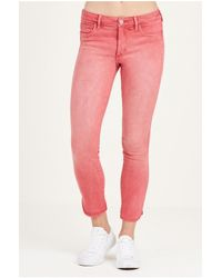 True Religion | Pink Halle Super Skinny Cropped Womens Jean | Lyst