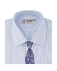 Turnbull & Asser - Blue And Grey Multi Stripe Shirt With Classic T&a Collar And Button Cuffs for Men - Lyst