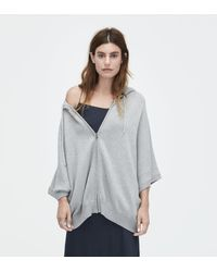 Ugg - Gray Women's Sweater Knit Zip-up Poncho - Lyst