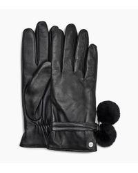 Ugg - Black Leather Pom Glove Leather Pom Glove - Lyst