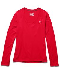 Under Armour - Red Women's Ua Heatgear® Armour Long Sleeve - Lyst