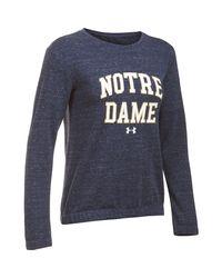 Under Armour - Blue Women's Notre Dame Fleece Crew - Lyst